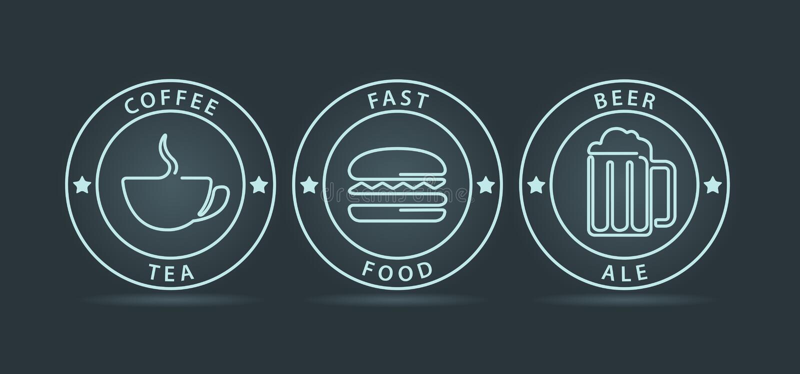 Sistema del vector de los iconos de neón del estilo del esquema stock de ilustración