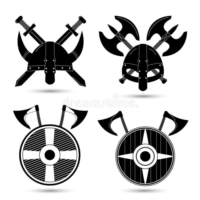 Sistema del vector de los iconos de vikingo en blanco stock de ilustración