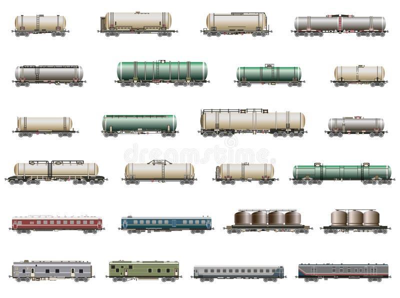 Sistema del vector de los iconos deatiled aislados de trenes, de railcars, de carros y de furgonetas ferroviarios ilustración del vector