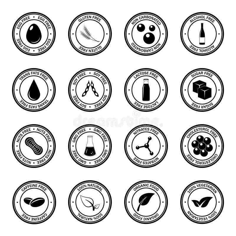 Sistema del vector de los iconos del alergénico ilustración del vector