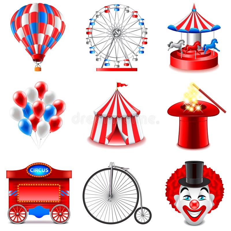 Sistema del vector de los iconos del circo stock de ilustración