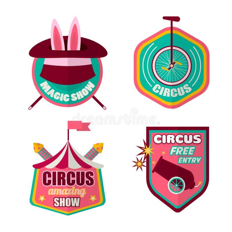 Sistema del vector de los iconos del circo de payaso, de sombrero mágico y de conejo libre illustration