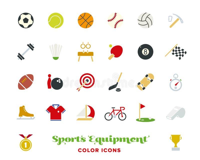 Sistema del vector de los iconos del color del equipo de deportes ilustración del vector