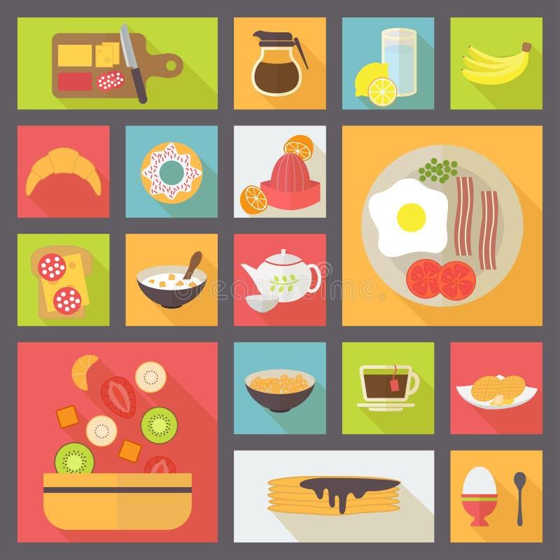 Sistema del vector de los iconos del desayuno stock de ilustración