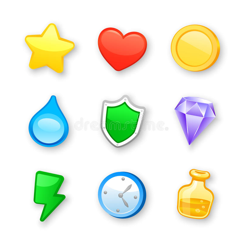 Sistema del vector de los iconos del diseño del arte del juego libre illustration