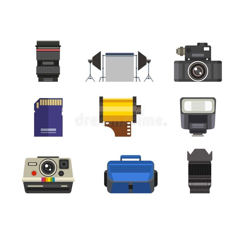 Sistema del vector de los iconos del estudio de la foto ilustración del vector