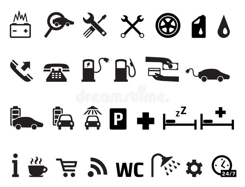 Sistema del vector de los iconos del transporte de los servicios del borde de la carretera ilustración del vector