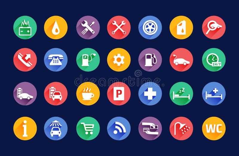 Sistema del vector de los iconos del transporte de los servicios del borde de la carretera libre illustration