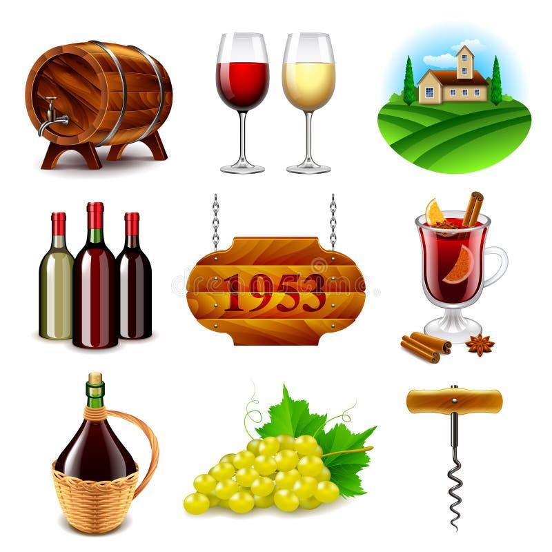 Sistema del vector de los iconos del vino y de la vinificación ilustración del vector
