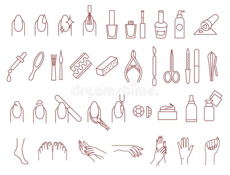 Sistema del vector de los iconos de la manicura y de la pedicura libre illustration