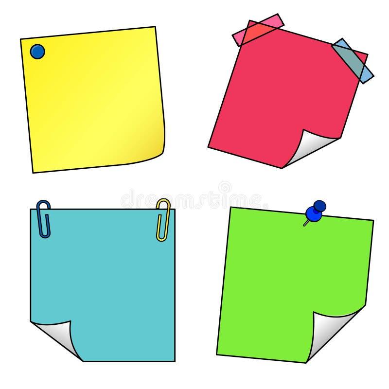 Sistema del vector de los iconos de las notas de post-it stock de ilustración