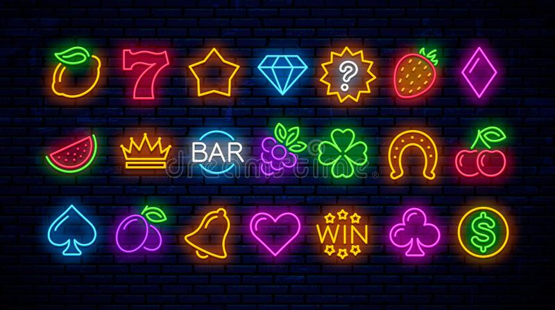 Sistema del vector de los iconos de neón del juego para los casinos ilustración del vector
