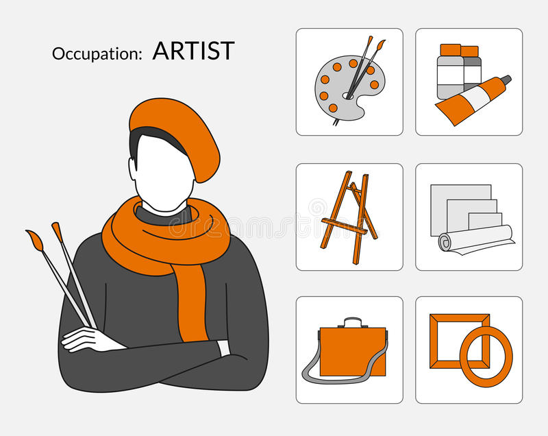 Sistema del vector de los iconos para el artista ilustración del vector