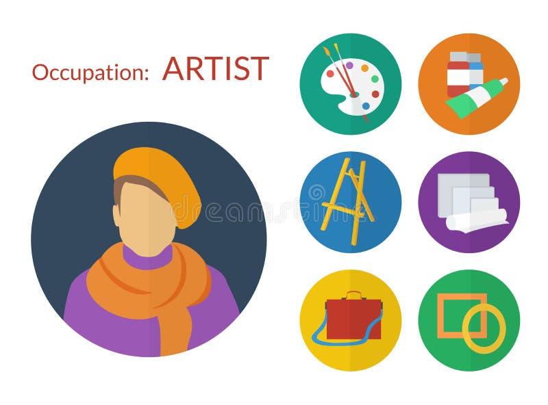 Sistema del vector de los iconos para el artista, diseño plano ilustración del vector