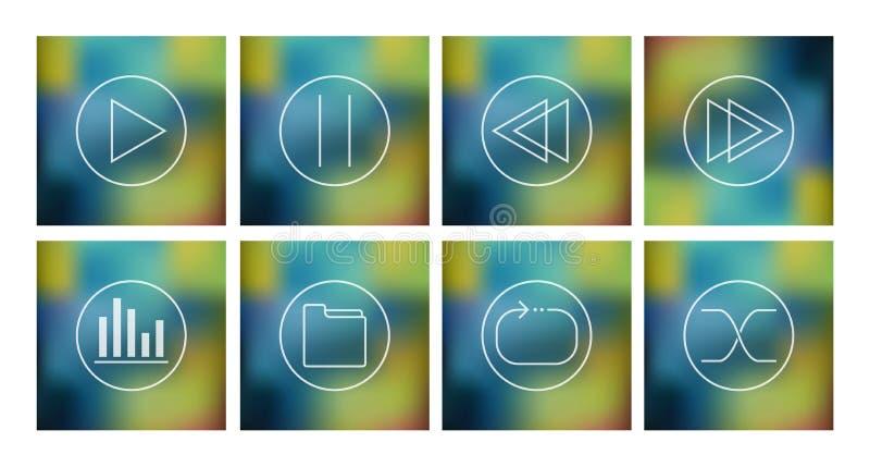 Sistema del vector de los iconos para el jugador de música ilustración del vector
