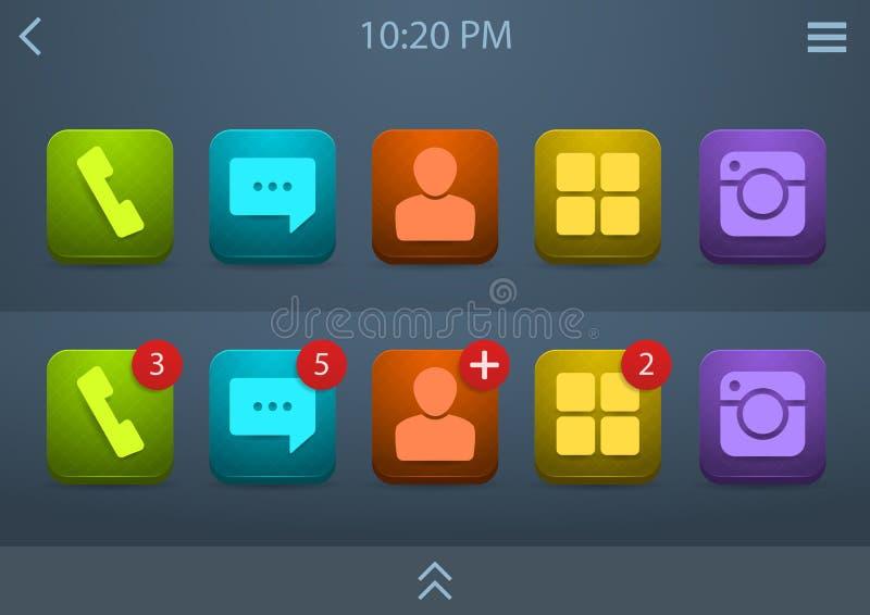 Sistema del vector de los iconos para el ui del teléfono móvil stock de ilustración
