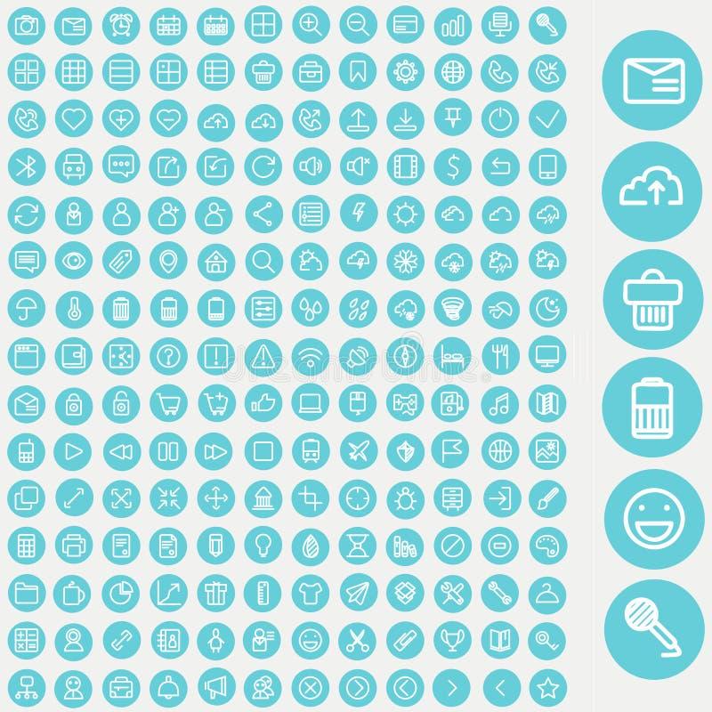 Sistema del vector de los iconos para el web y la interfaz de usuario libre illustration