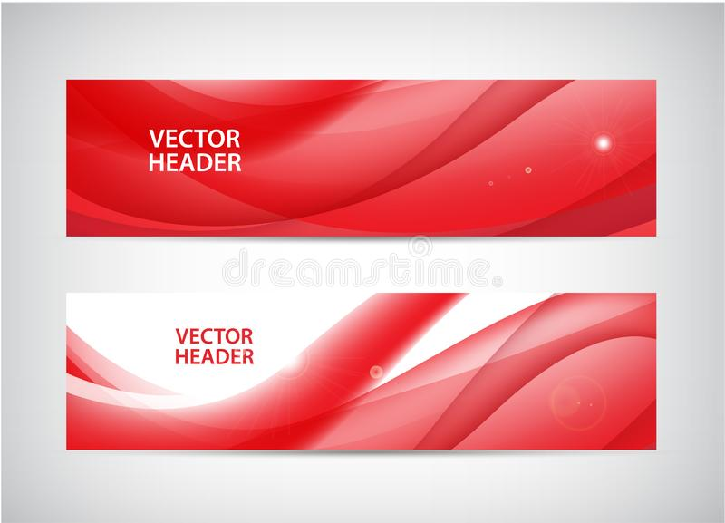 Sistema del vector de los jefes horizontales ondulados abstractos, banderas del web Corriente, corriente ilustración del vector