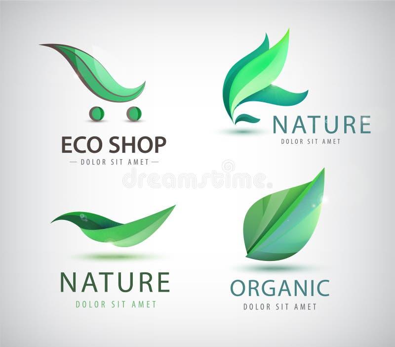 Sistema del vector de los logotipos del eco, hojas, orgánicas stock de ilustración