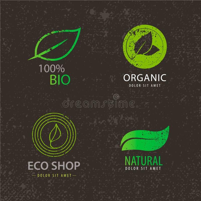 Sistema del vector de los logotipos del eco, hojas, orgánicas ilustración del vector