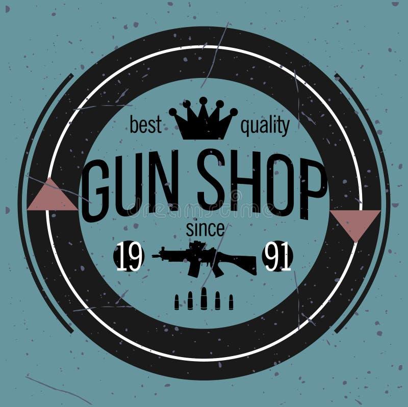 Sistema del vector de los logotipos y de las insignias de la tienda de armas libre illustration