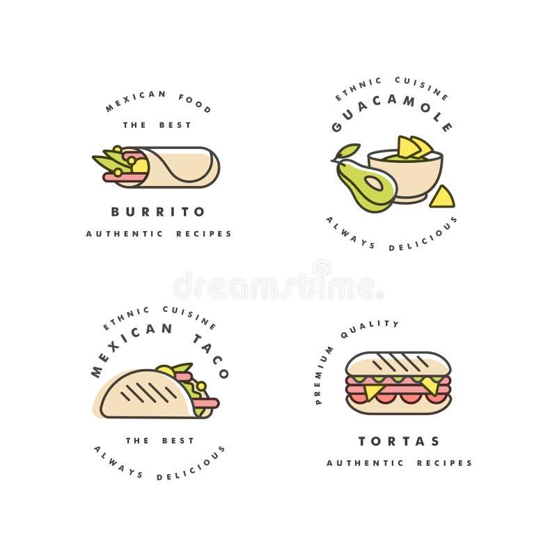 Sistema del vector de los logotipos y de los emblemas - comida mexicana de las plantillas del diseño Comida tradicional nacional  ilustración del vector