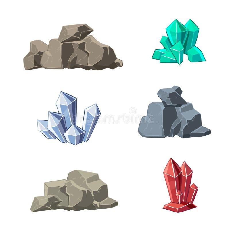 Sistema del vector de los minerales y de las piedras de la historieta stock de ilustración