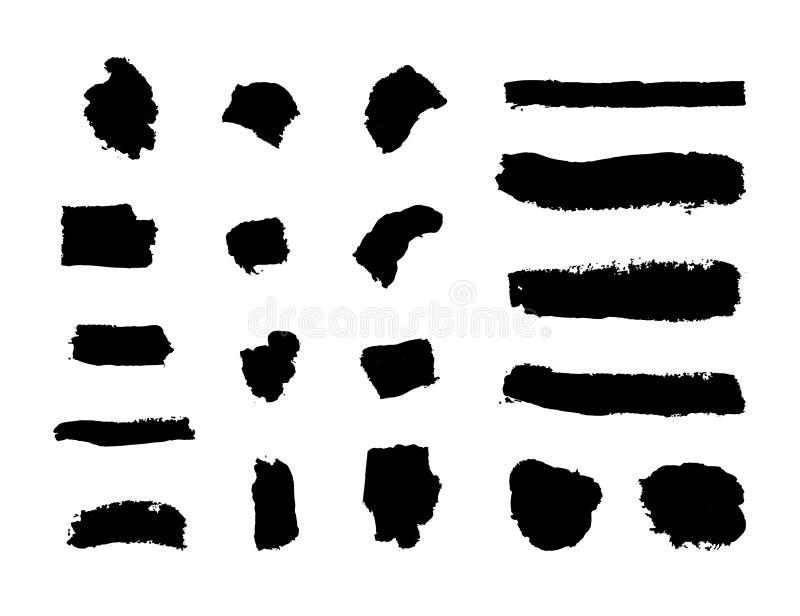 Sistema del vector de los movimientos planos de la tinta, manchas aisladas elementos negros del cepillo del Grunge stock de ilustración