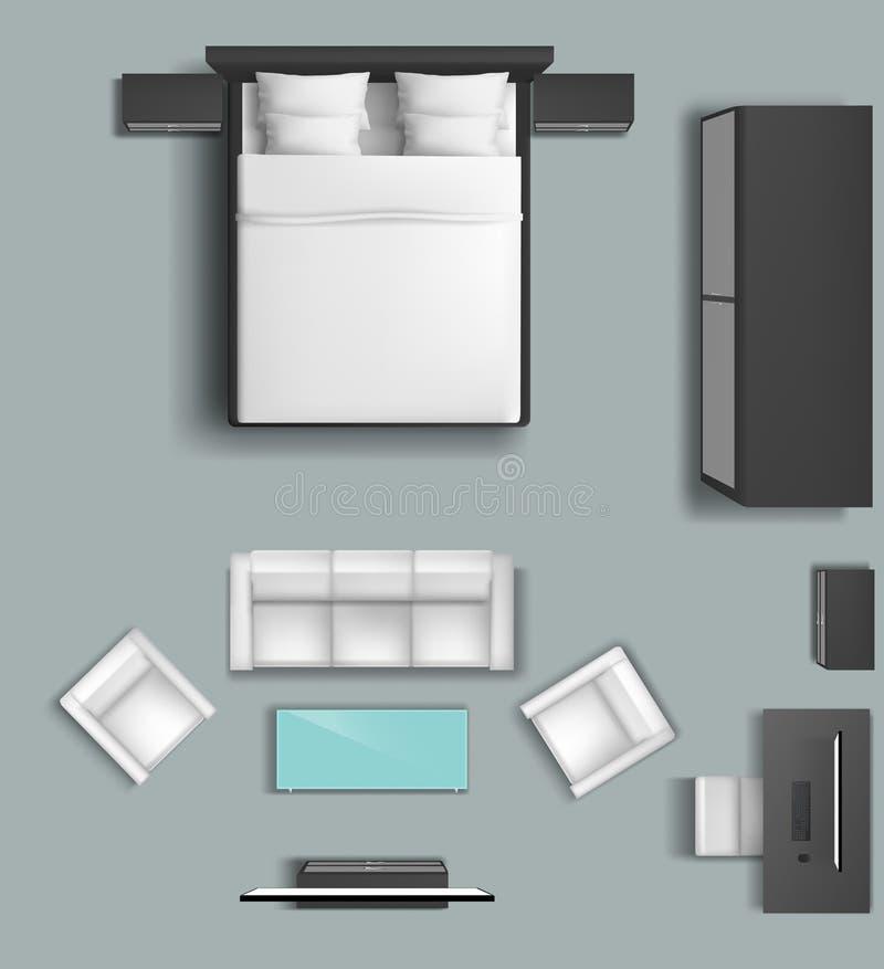 Sistema del vector de los muebles de la sala de estar y del dormitorio libre illustration