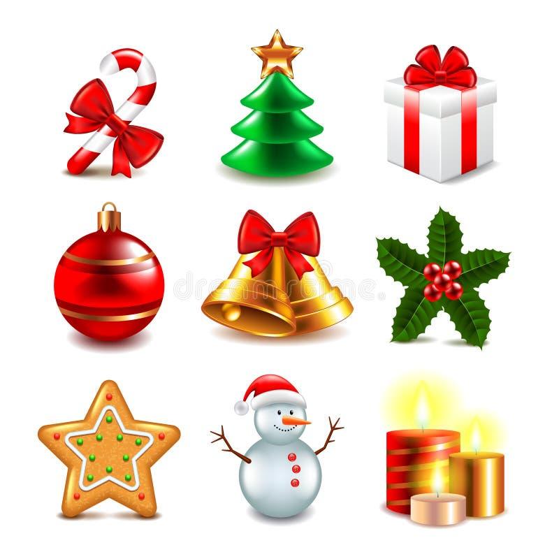 Sistema del vector de los objetos de la navidad ilustraci n del vector imagen 59939921 - Objetos de navidad ...