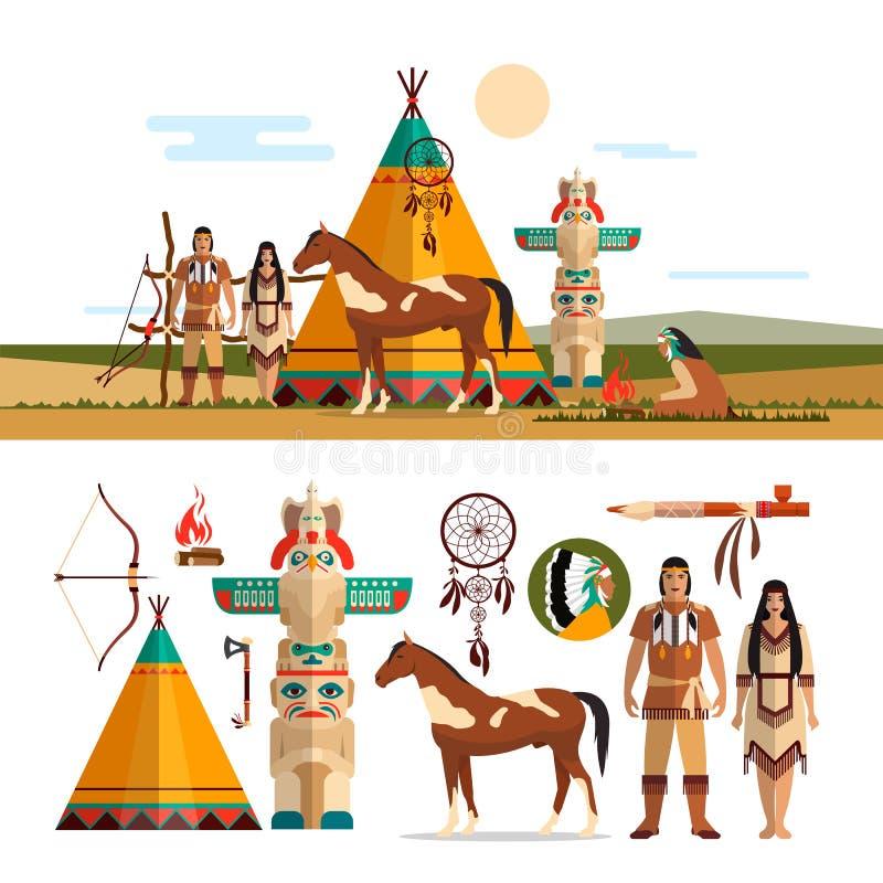 Sistema del vector de los objetos tribales indios americanos, iconos, elementos del diseño en estilo plano Tótem, lugar del fuego ilustración del vector
