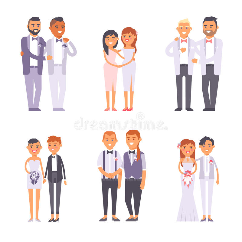 Sistema del vector de los pares del gay de la boda libre illustration
