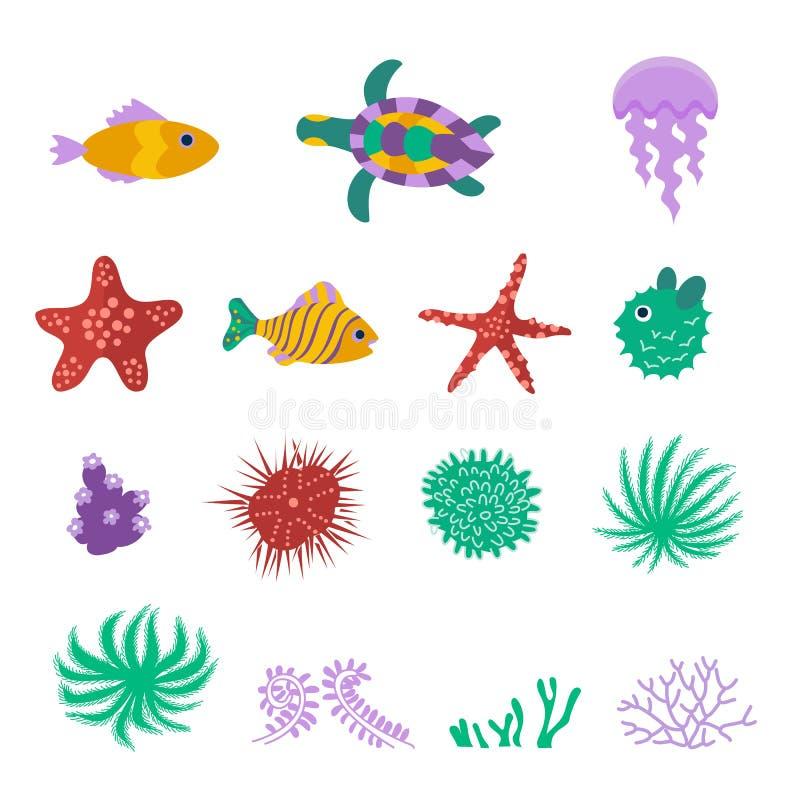 Sistema del vector de los peces marinos del mar, animales, plantas ilustración del vector