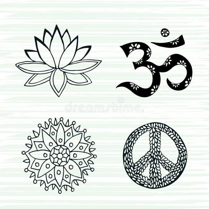 Sistema del vector de los símbolos de la cultura Lotus, la mandala, el mantra OM y los signos de la paz dan la colección exhausta ilustración del vector