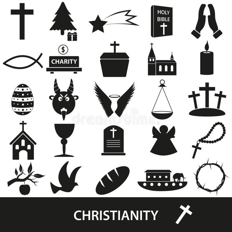Sistema del vector de los símbolos de la religión del cristianismo de iconos ilustración del vector