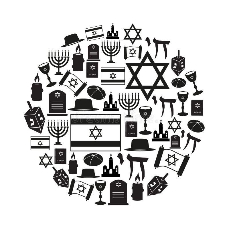 Sistema del vector de los símbolos de la religión del judaísmo de iconos en el círculo eps10 ilustración del vector
