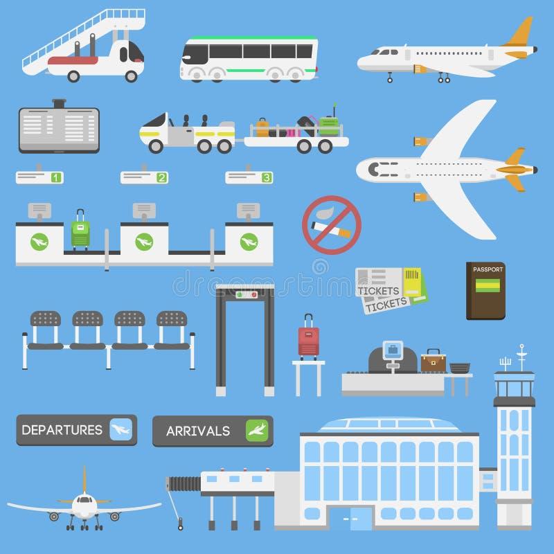 Sistema del vector de los símbolos del aeropuerto libre illustration
