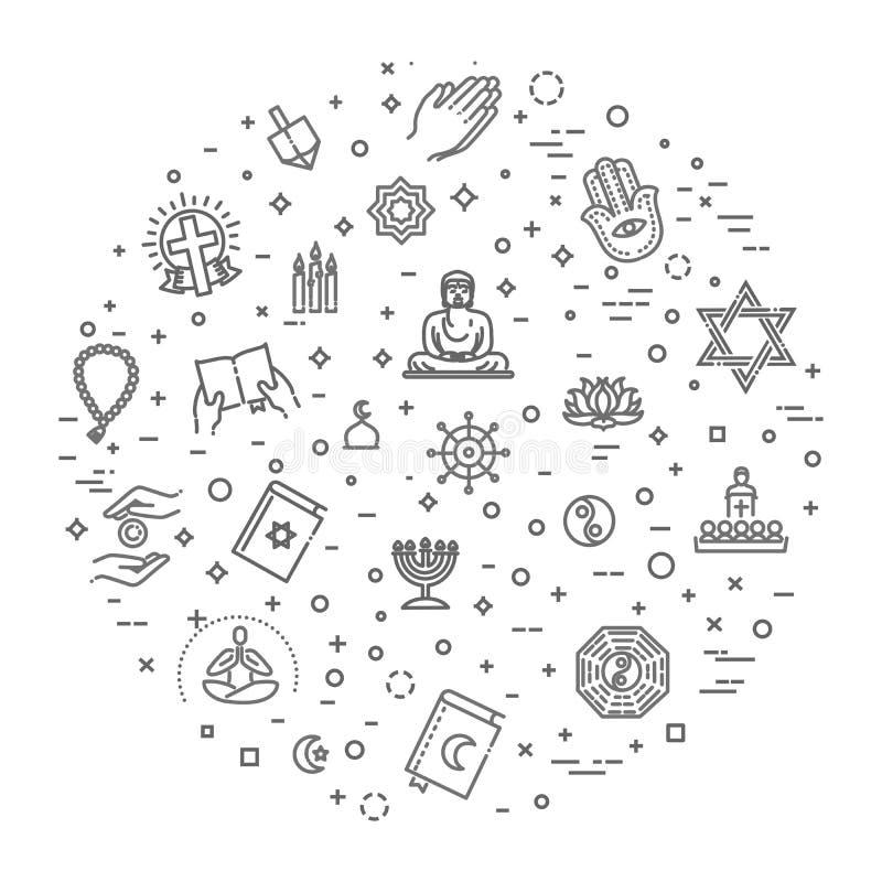 Sistema del vector de los símbolos de las religiones del mundo de iconos en círculo ilustración del vector