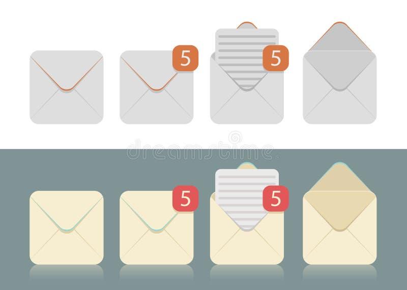 Sistema del vector de los sobres para los email ilustración del vector