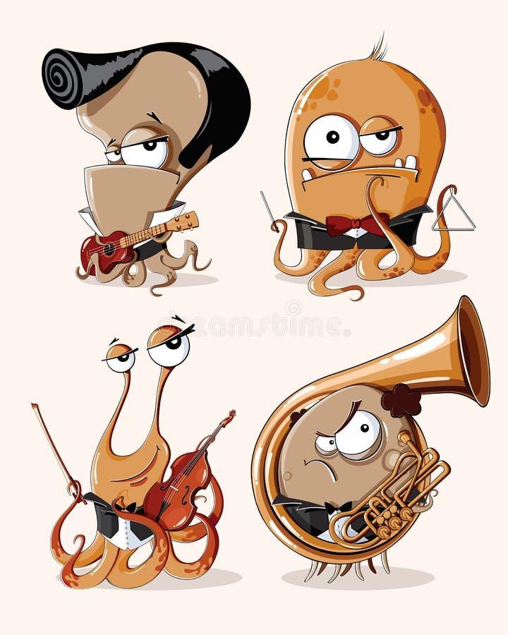 Sistema del vector de músicos retros divertidos de los monstruos ilustración del vector