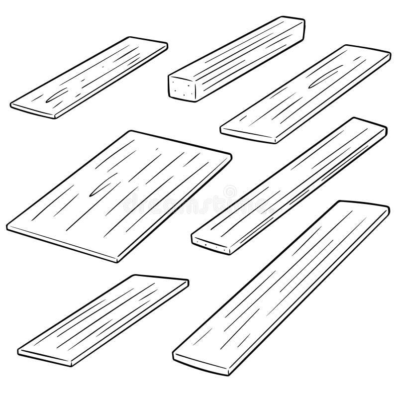 Sistema del vector de madera contrachapada stock de ilustración