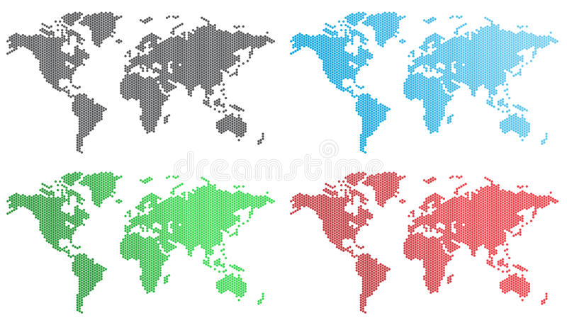 Sistema del vector de mapas del mundo stock de ilustración