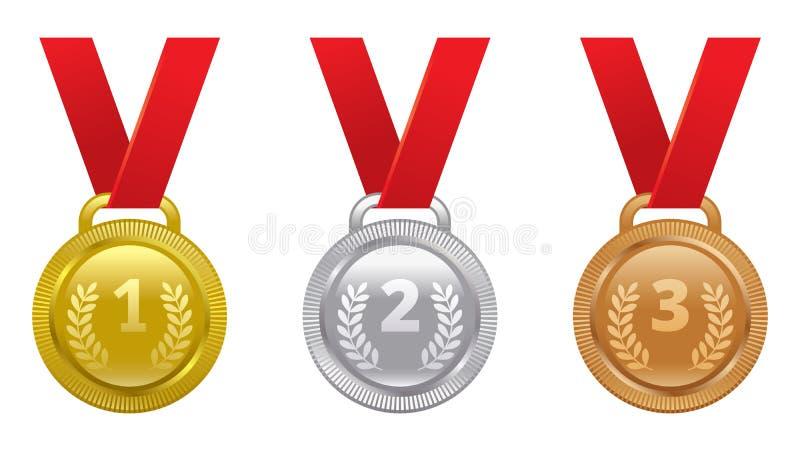 Sistema del vector de medallas de los premios de los deportes ilustración del vector