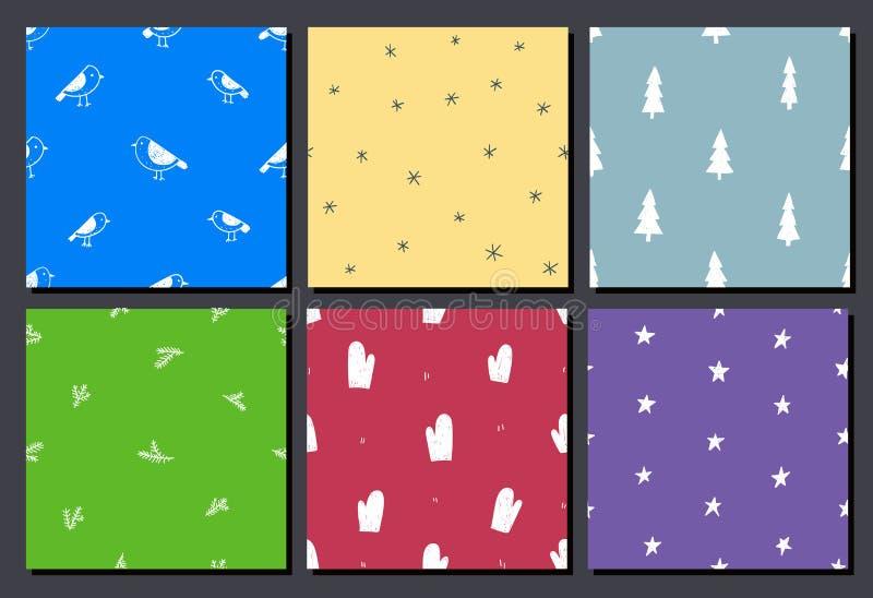 Sistema del vector de modelos inconsútiles coloridos dibujados mano de la Navidad Uso como fondo, papel pintado, decoración, emba ilustración del vector