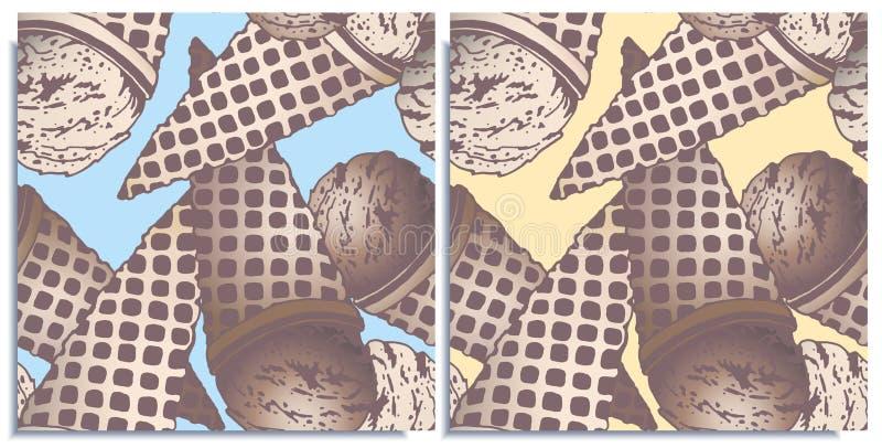 Sistema del vector de modelos inconsútiles con el helado colorido maravilloso, el sabor del chocolate y la nata quemada, sabrosos ilustración del vector
