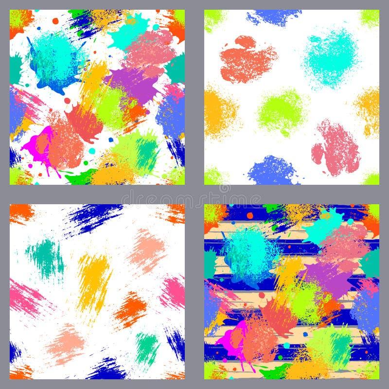 Sistema del vector de modelos inconsútiles, de tejas con el chapoteo del inc., de manchas blancas /negras, de mancha y de movimie ilustración del vector