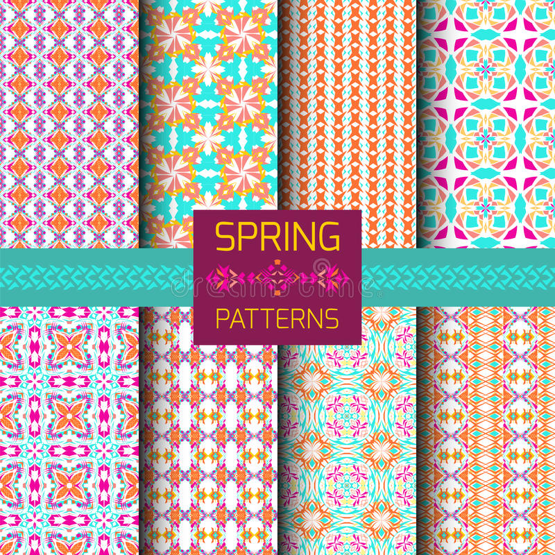 Sistema del vector de modelos ornamentales geométricos con colores brillantes de la primavera Colección inconsútil de la textura  ilustración del vector