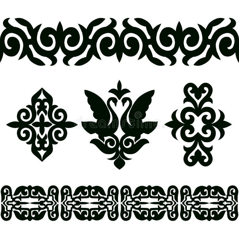 Sistema del vector de modelos y de elementos inconsútiles de la cinta en el estilo nacional étnico de Kazajistán stock de ilustración