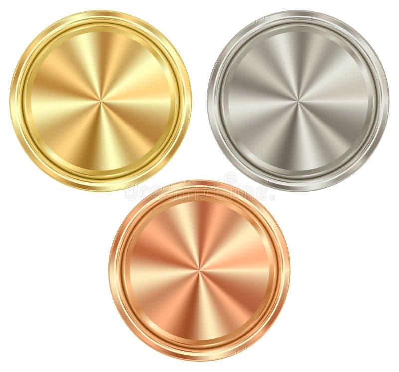 Sistema del vector de monedas redondas en blanco del oro, plata, bronce, que c ilustración del vector