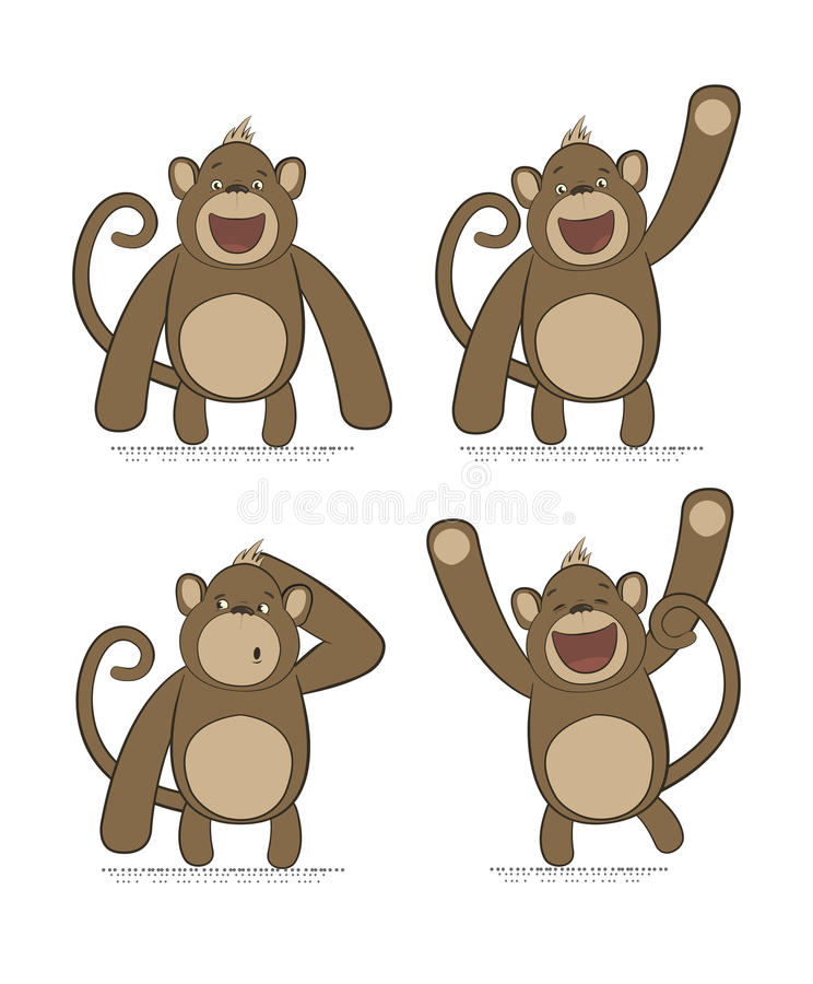 Sistema del vector de monos con diversas emociones stock de ilustración